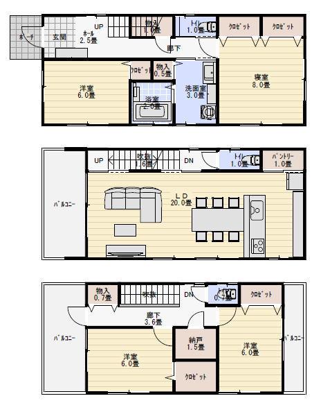 西玄関の三階建て住宅の間取り図   間取り シュミレーション